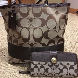 Coach Brown Striped Tote with Matching Wallet